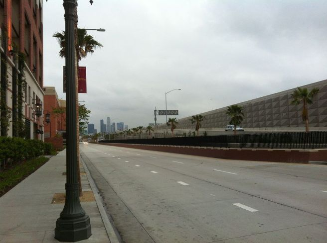 Jefferson/USC Station and the South LA Wall (the 110)