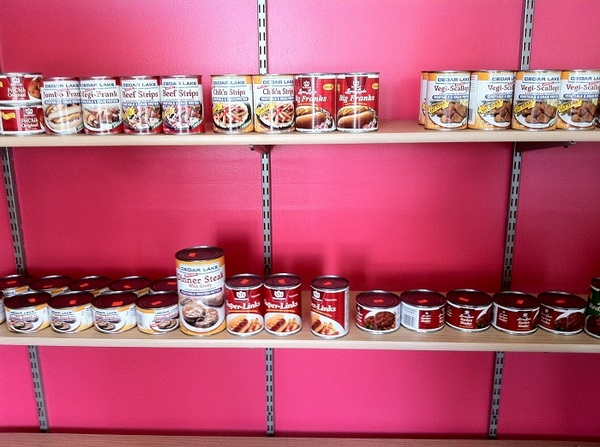 Shelves of canned mock meats at Veg It Up
