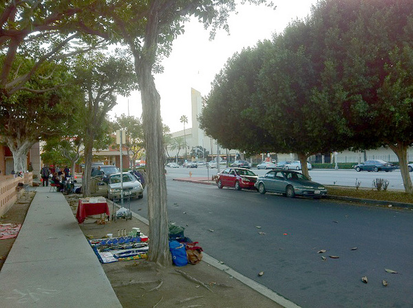 Sidewalk vending in the shadow of Baldwin Hills Crenshaw Plaza