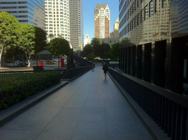 A slightly elevated walkway at Manulife Plaza
