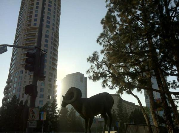 Century City - The Century (2009) and  Gwynn Murrill sculpture