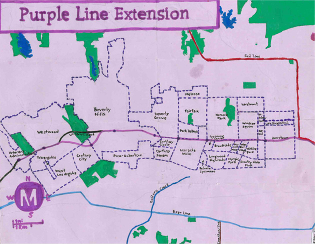 Pendersleigh & Sons Cartography's map of the Purple Line Extension