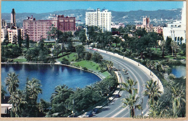 Westlake postcard after the extension of Wilshire