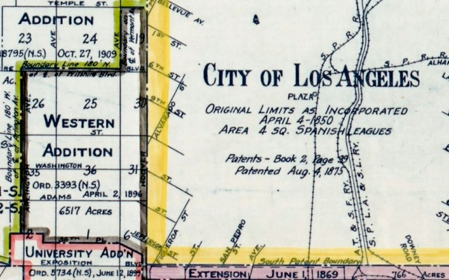 detail of Territory Annexed to the City of Los Angeles, California, 1781-1916
