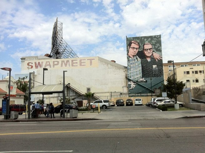 Los Angeles Teachers, a mural of Jaime Escalante and Edward James Olmos painted by Hector Ponce in 1997