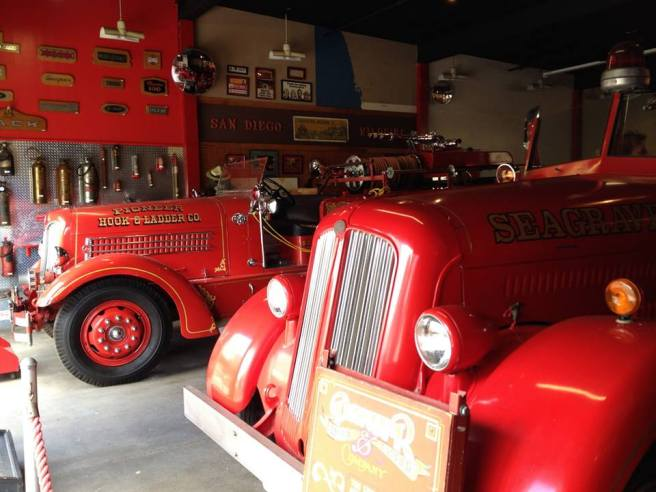 Firetrucks in the San Diego Firehouse Museum