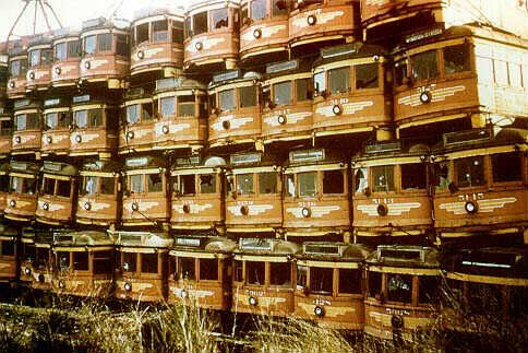 Pacific Electric rail cars waiting to be scrapped