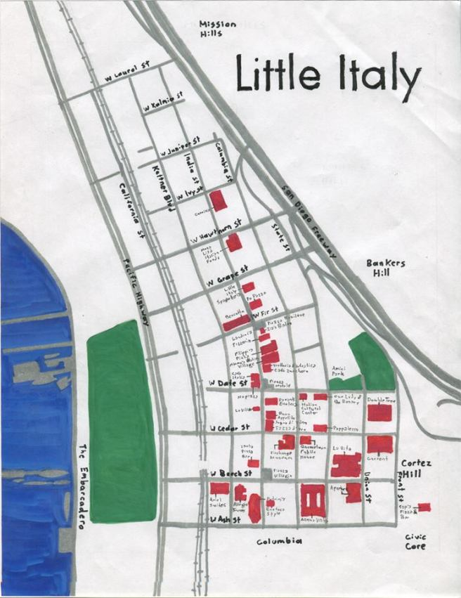 Pendersleigh & Sons Cartography's oil paint map of Little Italy (prints available from 1650 Gallery)