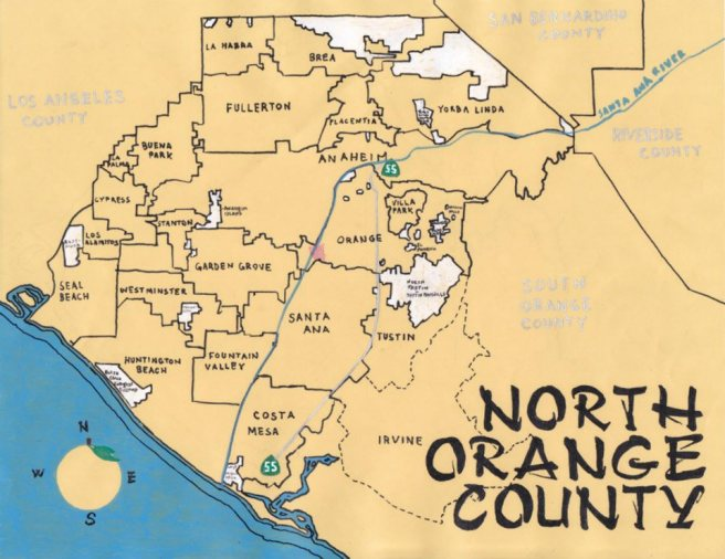 Pendersleigh & Sons Cartography's Map of North Orange County
