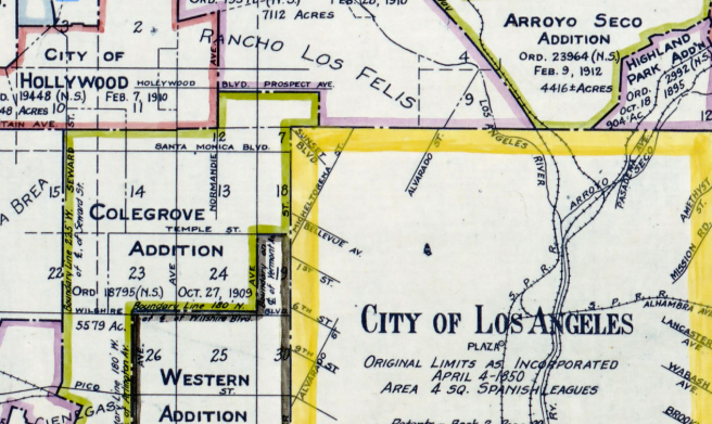 "Detail of by J.R. Prince's ""Territory Annexed to the City of Los Angeles, California, 1781-1916 L.A."""