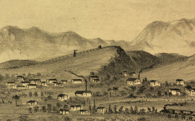 Detail of E.S. Glover's View of Los Angeles from the East (1877), showing what was to become Victor Heights