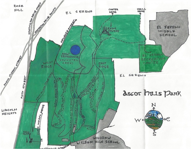 Pendersleigh & Sons Cartography's oil paint and ink map of Ascot Hills Park