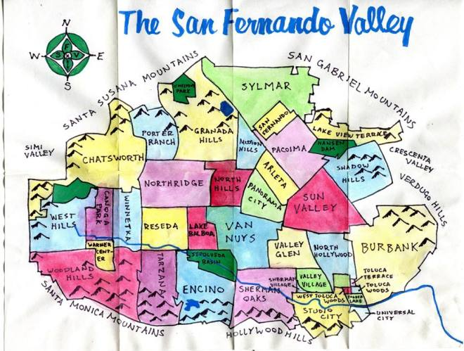 Pendersleigh & Sons Cartography's Map of the San Fernando Valley (available on merchandise from Cal31 and art prints from 1650 Gallery)