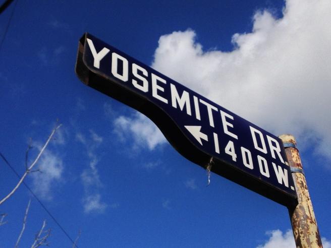 Yosemite Drive street sign/bird house