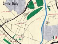 Oil paint map of Los Angeles's Little Italy, 2013 -- Urban Rambles -- Exploring The Remains of L.A.'s Little Italy