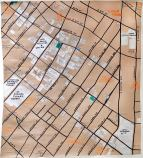 Large ink map of Skid Row with an emphasis on services for Skid Row Housing Trust, 2014 -- An Advocate's Story