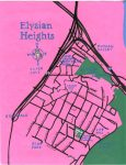 Oil paint map of Elysian Heights, 2014