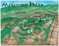Oil and watercolor bird's-eye map of Monterey Hills, 2013 -- California Fool's Gold — Exploring Monterey Hills