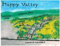 Watercolor and oil bird's-eye map of Happy Valley, 2013 -- California Fool's Gold — Exploring Happy Valley