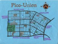 Oil and ink map of Pico-Union, 2014
