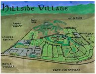 Watercolor and oil bird's-eye map of Hillside Village -- California Fool's Gold — Exploring Hillside Village