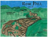 Watercolor and oil paint bird's-eye map of Rose Hill, 2014 -- California Fool's Gold — Exploring Rose Hill