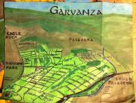 Watercolor and oil paint bird's-eye map of Garvanza, 2014 -- California Fool's Gold — Exploring Garvanza