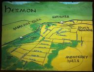 Watercolor and oil paint bird's-eye map of Hermon -- California Fool's Gold — Exploring Hermon
