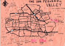 Oil paint and ink map of the San Fernando Valley, 2011 (Version 1) -- California Fool's Gold — A San Fernando Valley Primer
