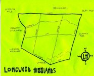 Ink map of Longwood Highlands, 2010 -- California Fool's Gold — Exploring Longwood Highlands – a Neighborhood of Pride