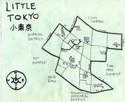 Ink map of Little Tokyo, 2010 -- California Fool's Gold — Exploring Little Tokyo (小東京)