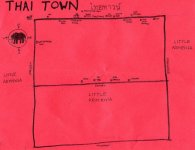 Ink map of Thai Town, 2010 (not to scale) -- California Fool's Gold — Exploring Thai Town (ไทยทาวน์)