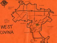 Ink map of West Covina, c. 2010