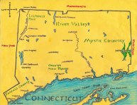 Ink and colored pencil map of Connecticut for Caroline Harrington, 2011