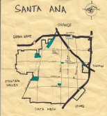 Ink map of Santa Ana, 2010 -- California Fool's Gold — Exploring Santa Ana, Downtown Orange County