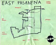 Ink map of East Pasadena, c. 2009 -- California Fool's Gold — Exploring East Pasadena