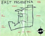 Ink map of East Pasadena, c. 2009 -- California Fool's Gold — Exploring East Pasadena