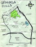 Ink map of Granada Hills, c. 2009 -- California Fool's Gold — Exploring Granada Hills
