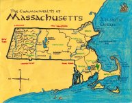Ink and colored pencil map of Massachusetts for Katie Mattila, 2011