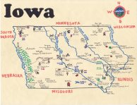 Oil and ink map of Iowa for Brendan Greiner (2012)
