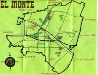 Ink map of El Monte, c. 2012 -- California Fool's Gold — Exploring El Monte, the End of the Santa Fe Trail (or at least some trails)