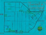 Ink and white-out map of Sunset Junction, c. 2012
