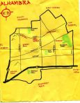Ink map of Alhambra, c. 2009 -- California Fool's Gold — Exploring Alhambra – The Gateway to the San Gabriel Valley