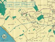 Oil paint map of the Expo Line (Phase 2), 2013 -- Nobody Drives in LA: Exploring Course of the Expo Line Phase 2