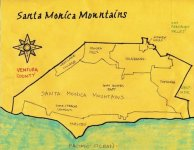 Ink and oil (ocean subsequently painted) map of the Santa Monica Mountains region, 2011 -- California Fool's Gold -- A Santa Monica Mountains Primer