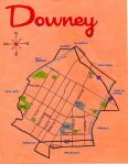 Ink and oil map of Downey, c. 2012