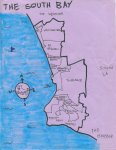 Ink and oil map of the South Bay, 2011 (SOLD but prints still available) -- California Fool's Gold -- A South Bay Primer