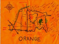 Ink and white-out (compass rose since colored) map of Orange, 2010 -- California Fool's Gold — Exploring Orange, Orange County's Plaza City