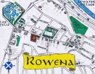 Ink and oil paint map of Rowena and Ivanhoe-related streets, 2012