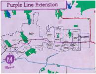 Oil paint and ink map of the Purple Line Extension, 2013 -- Nobody Drives in LA -- Exploring the Course of the Metro Purple Line Extension